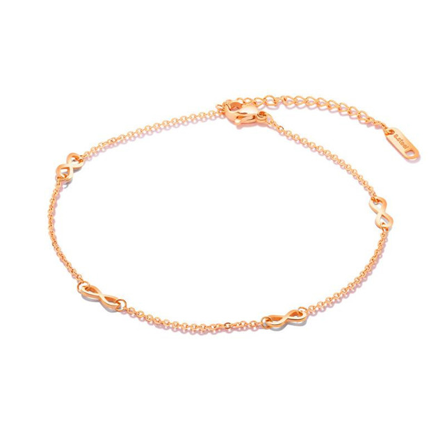 Thin Chain Bracelet Fashion Women Jewelry Plated Rose Gold Jewellery 316L Stainless Steel Infinitely Anklet