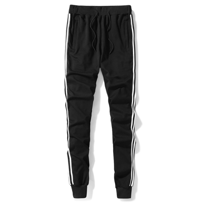 Mens joggers black fitness track pants drawstring side strip gym workout jogger sweatpants custom running dry fit trousers