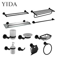Hotel Bath Wall Mount Shelf Black Towel Rack Wholesale Ceramic Soap Dish Liquid Bathroom Accessories