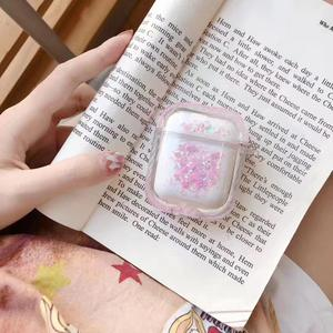New Arrival Glitter Shiny Liquid Quicksand Hard PC Wireless Earphone Cover For Apple Airpods Charging Case