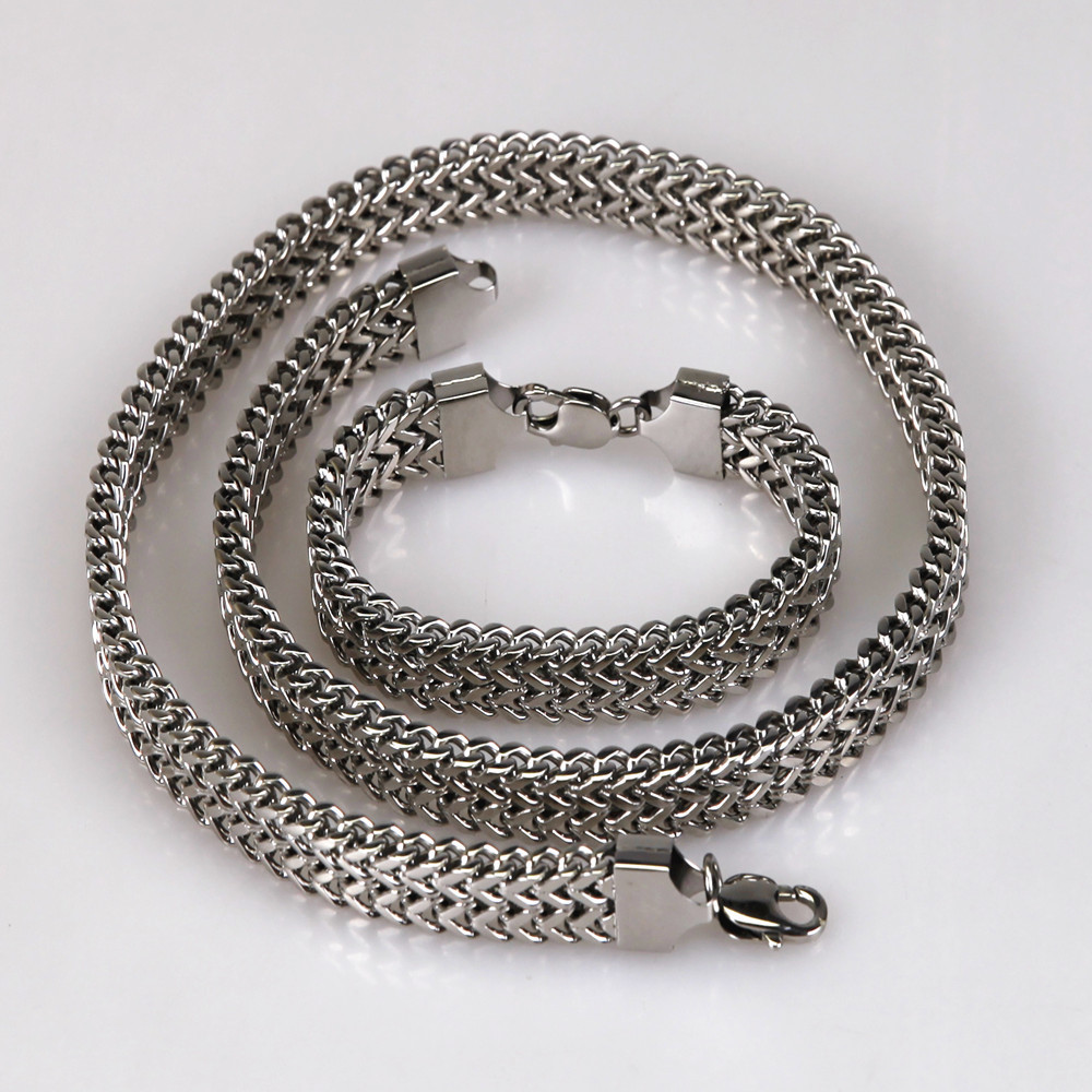 Shinny Polished 316L Surgical Stainless Steel Double Lines Heavy Foxtail Square Curbed Chain Jewelry Set Necklace With Bracelet