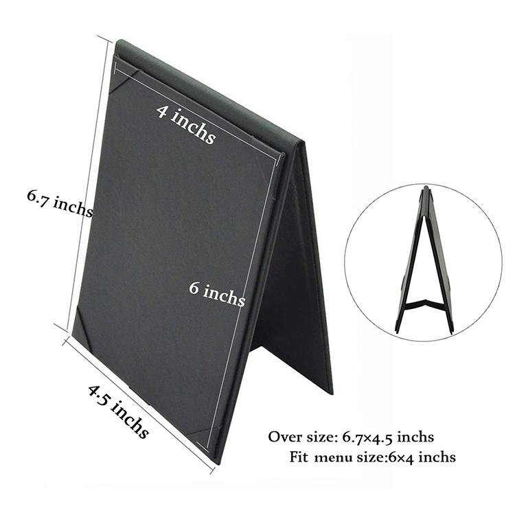 custom luxury leather look black handmade PU leather restaurant drink menu cover holders