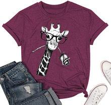 Женская футболка с рисунком жирафа NCLAGEN 2020, футболка с круглым вырезом и коротким рукавом из хлопка с графическим рисунком, женская рубашка ...(China)