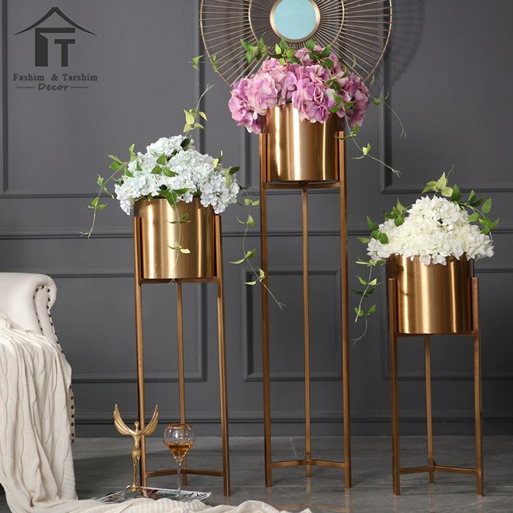 Gold Plated Decorative Vase Grand Metal