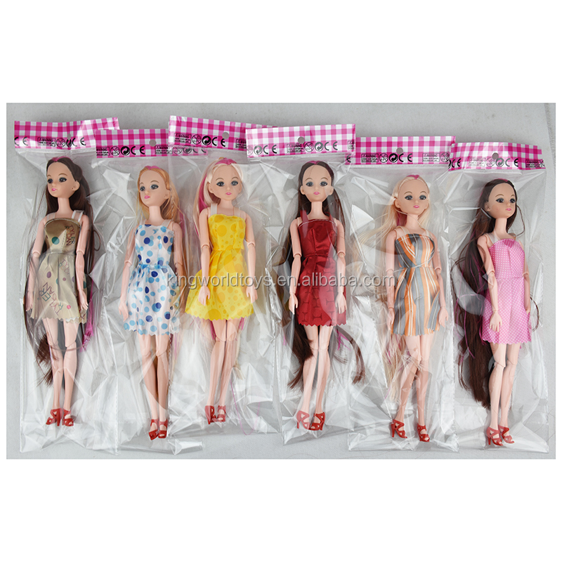 Hot selling fashion barbies with joint solid body dress up play set DIY long hair dolls for girls baby