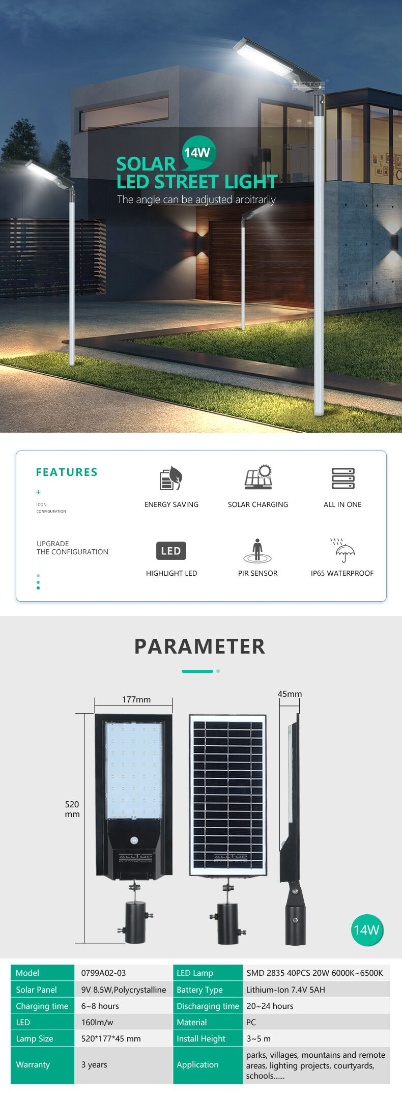 ALLTOP  IP65 Waterproof solar charging Adjustable Angle Energy Saving 9w 14w All In One Solar Led Street Light