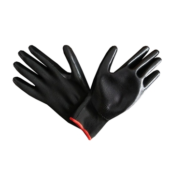 13g seamless polyester/nylon liner black nitrile coated working gloves