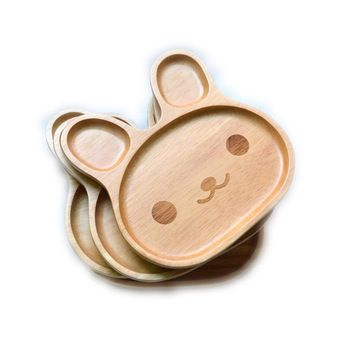 Restaurant Tableware Food Safe Baby Feeding Plate Luxury Wood Animal Dinner Manufacturer Children Plate  Plate