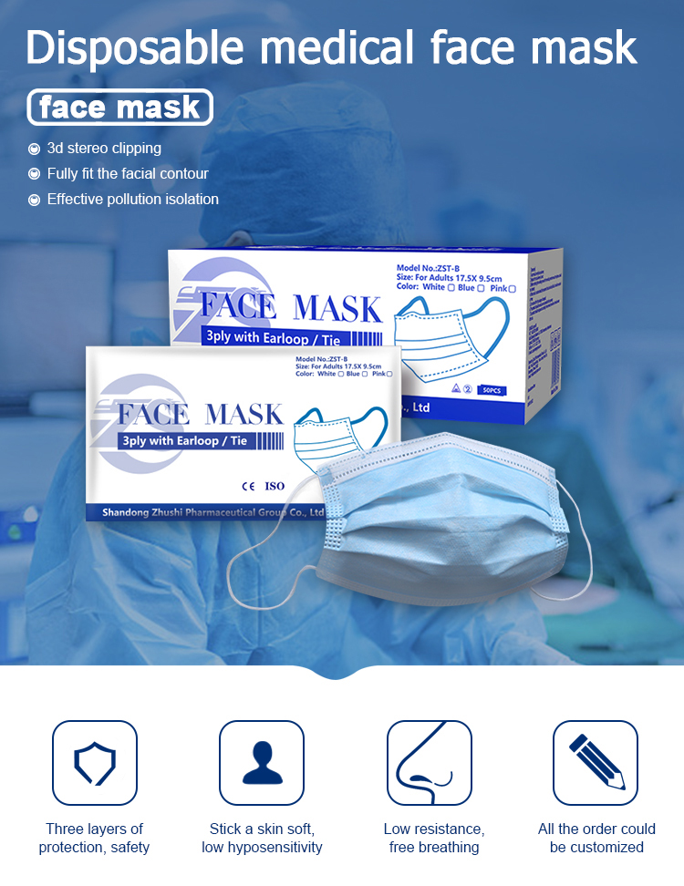 Medical grade CE certified Face Mask 3 ply disposable earloop face mask - KingCare | KingCare.net