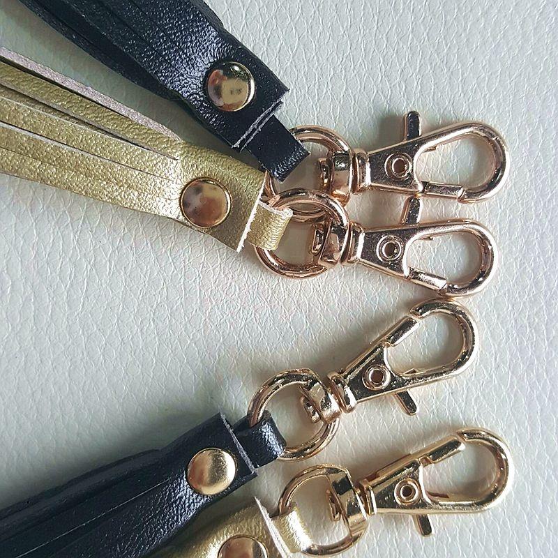 leather tassel / keychain leather tassel/metal caps tassel