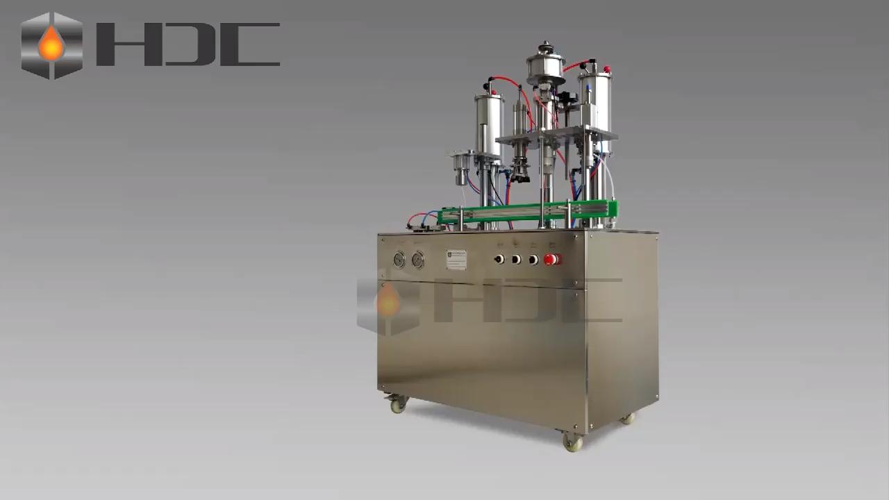 Semi automatic lpg gas refill aerosol can filling machine 3 in 1