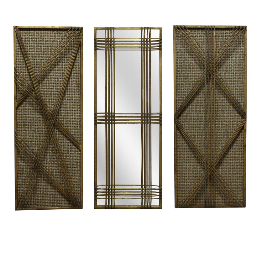 Set of 3 Metal Rectangle Gold Mirror And Rattan Morden Wall Hanging Decor For Living Room