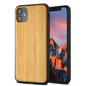 For iPhone 11 2019 Wooden Cover , Soft TPU and Blank Real Wood Cell Phone Case For iPhone XI