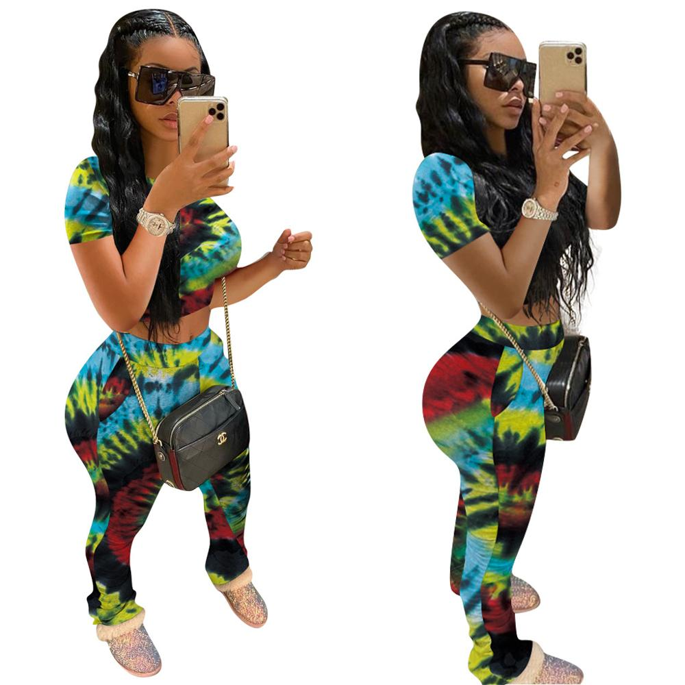 TFZ1041 New hot seal Women Clothing Streetwear Matching Set Fashional Hight Waist Women Stacked Pants Women Two Piece Set
