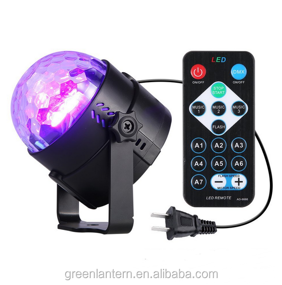 LED 3W RGB Crystal Magic Rotating Ball remote control projector lamp For KTV Xmas Party Club Pub Disco DJ