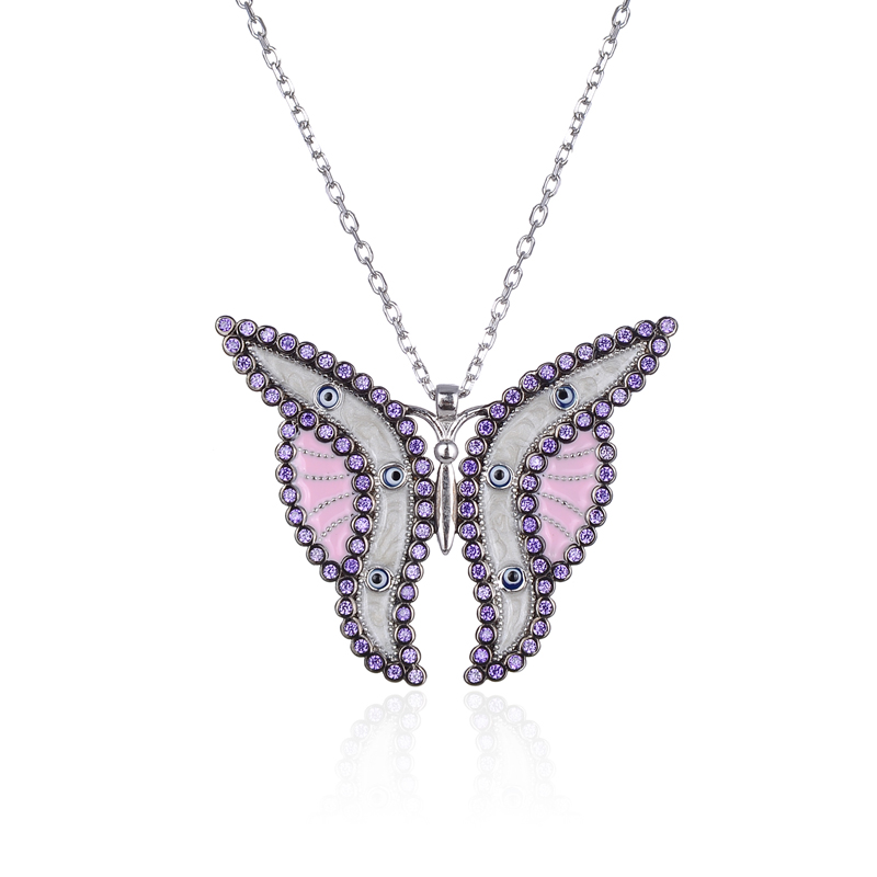 Hot selling Sterling 925 silver butterfly necklace for women