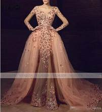Объемные цветы, Русалка Выпускные платья с длинными рукавами 2020, бусы, съемные юбки, Формальные платья, вечернее платье, платье знаменитости(China)