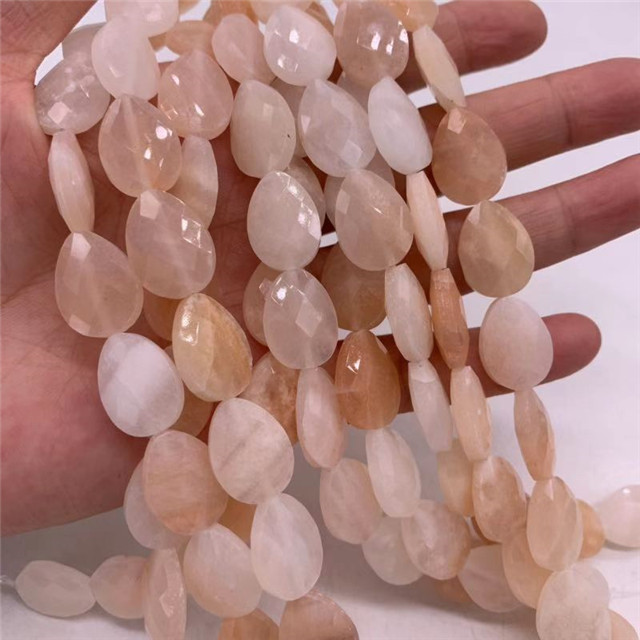 Small moq and factory price wholesale diy jewelry accessories 13*18mm tear drop shape natural pink aventurine stone beads