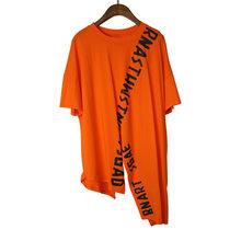 Женская Асимметричная футболка XITAO, Модный пуловер в стиле пэчворк с принтом богини веера, элегантная повседневная свободная футболка, XJ4820(Китай)