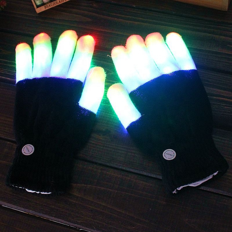 Halloween LED Flashing Finger Light Up Colorful Lighting Gloves Rave Party Props