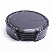 High quality Black color pu synthetic leather mat table drink coffee cup coaster set with holder tray supplies for hotel