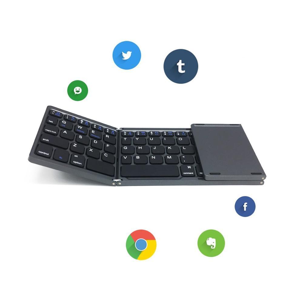 Hot slim Tri-fold Wireless keyboard touchpad foldable bluetooth keyboard
