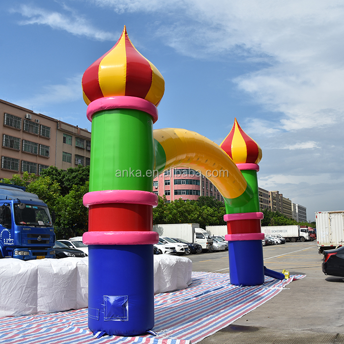 Outdoor christmas inflatables castle arch with blower for decoration