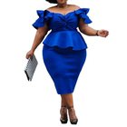 2019 hot summer the best off shoulder dress plus size wrap dress short sleeve ruffles party midi dress for women