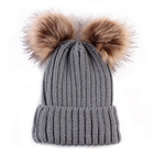 Kid double pom pom winter warm knit hat for child wholesale