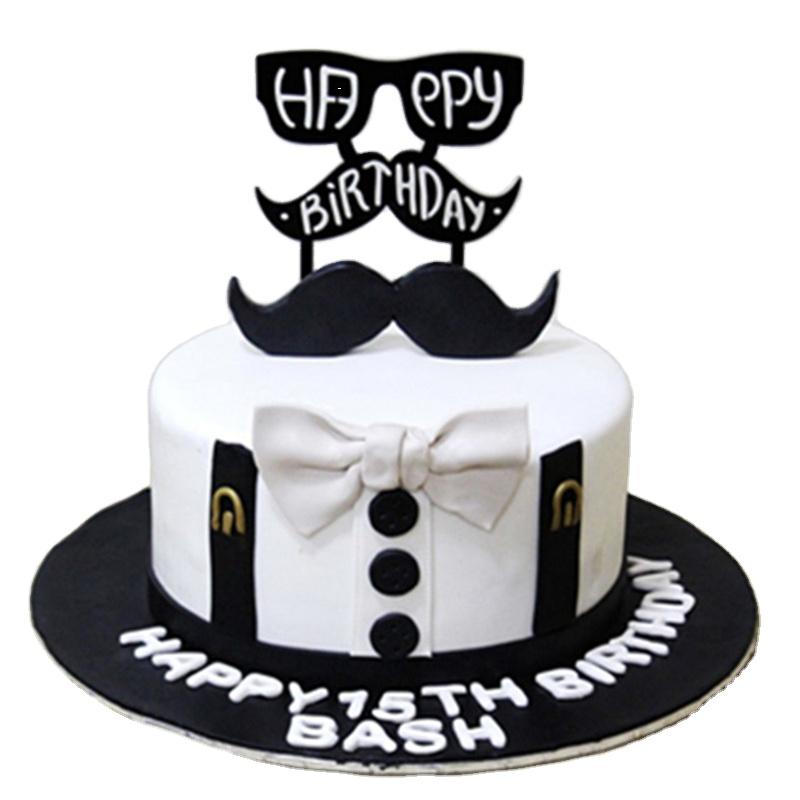 Heureux père Jour Noir Acrylique Gâteau Topper Papa Joyeux Anniversaire Acrylique Topper Pour Papa Gâteau de Fête D'anniversaire Décor