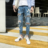 New Brand Men's Fashion Biker Jeans Male Designer Ripped Hole Denim Jeans Slim Fit Straight Spliced pants