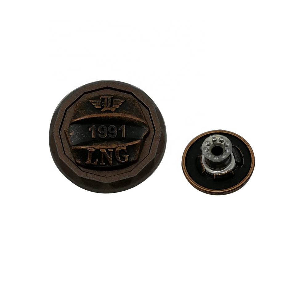 Custom Made Special Shape Rectangular Denim Antique Copper Metal Jeans Buttons And Rivets Western Metal Buttons For Jeans
