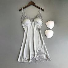 Черная кружевная женская ночная рубашка на бретельках с v-образным вырезом, летняя сексуальная женская одежда для сна с вышивкой, модная одн...(Китай)