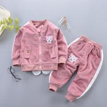 Комплект одежды для девочек, весенне-осенняя Модная хлопковая кофта с мультяшным рисунком и штаны для новорожденных девочек, милый комплек...(Китай)