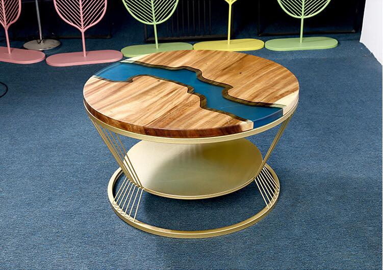 Small round table in modern balcony solid wood resin living room coffee table
