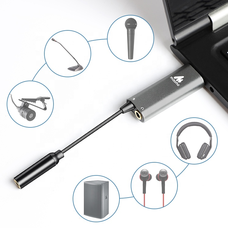 MAONO Sound Card Audio Interface Recording Mini USB Sound Card Connector 3.5 Lavalier Microphone or Monitor Headphone