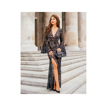 Girls V-Neck Simple Elegant Evening Gown Fashion Ladies Black Lace Long Dress