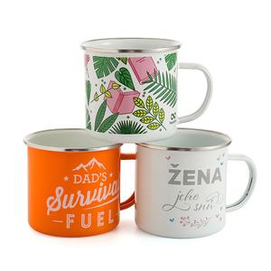 Logo printing custom enamel mug, custom steel enamel camping mug, white logo printing metal enamel cup