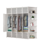 Home Furniture Cabinet Wardrobe 2020 Hot Selling DIY Modern Bedroom Foldable Clothes Plastic Cabinet Wardrobe Storage Closet Plastic Wardrobes