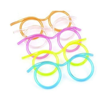 QY Creative fun lazy people super long plastic glasses straw eyes party game props children toys party accessories