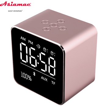Wireless portable bluetooth speaker wireless charger with fm radio alarm clock display