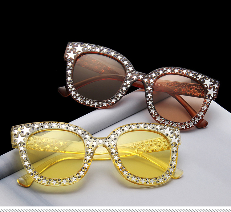 Sequins Five-Star Diamond Custom Authentic Men Women Cat Eye Sunglasses
