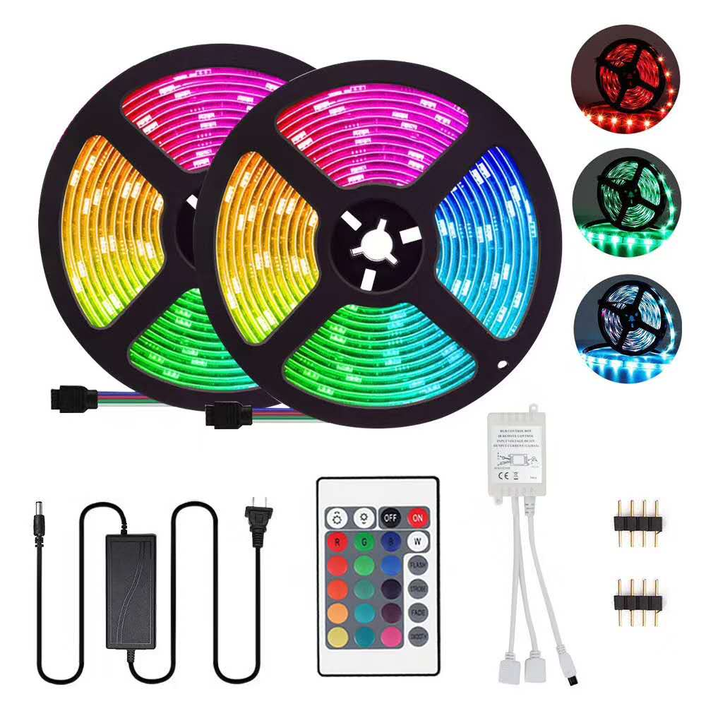 Smart APP Controlled 24key 32.8ft Lighting 10M 300 LEDS SMD5050 IP65 Waterproof WIFI Music LED Strip Light RGB With Remote
