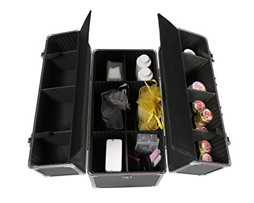 Professional Vanity Case Makeup Jewellery Nail Polish Beauty Box Beauty Accessories Storage Case (Black Pattern)