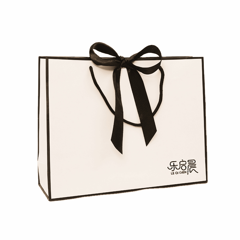 product-Dezheng-Elegant design blank black and white ribbon shopping costume paper bag with bow-img-1