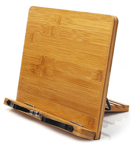 Bamboo Book Stand,Adjustable Book Holder Tray and Page Paper Clips-Cookbook Reading Desk Portable Sturdy Lightweight