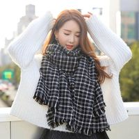 Wholesale 200*95 cm Checked Cotton Winter Warm Knit Scarf Women