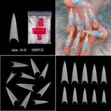 500 шт/100 шт уникальные новые поддельные ногти чистые натуральные ногти гроб шпильки Типсы для маникюра Инструменты искусственные ногти(Китай)