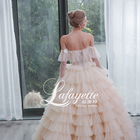 Light champagne Off-Shoulder Wedding Dress Bridal Gown with Appliques and Handmade Flower 2020 Luxury Wedding Dress for Ladies