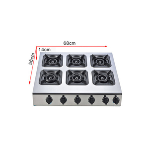 Catering Table Top Industrial Gas Cooker cylinder 6 Burners Stove